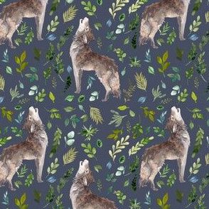 "4"" Summer In The Wild Wolf and Foliage - Dark Blue"