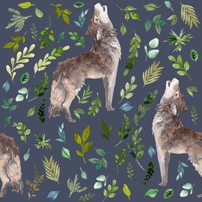 "8"" Summer In The Wild Wolf and Foliage - Dark Blue"