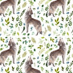 "4"" Summer In The Wild Wolf and Foliage - White"