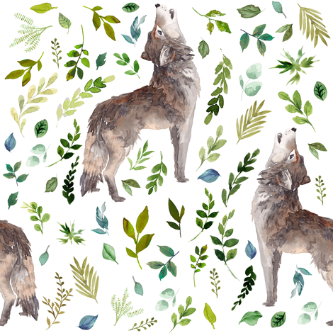 """8"""" Summer In The Wild Wolf and Foliage - White fabric by shopcabin on Spoonflower - custom fabric"""