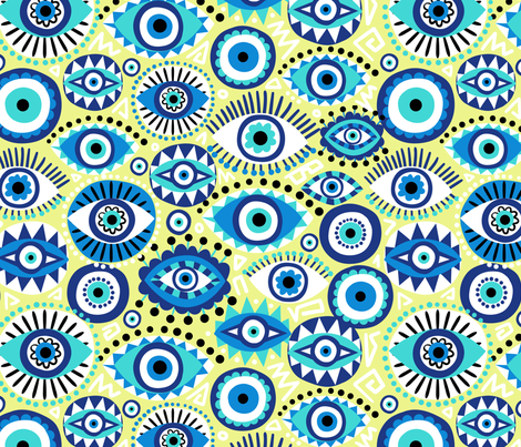 Evil eye fabric by laura_may_designs on Spoonflower - custom fabric