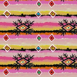 Whimsical pink rag rug or plaid