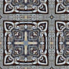 CARVED STONE TILE greek celtic 3 checkerboard tiles
