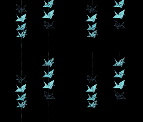 night peace cranes fabric by twigsandblossoms on Spoonflower - custom fabric