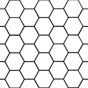 Hexagon tile, wallpaper, black and white tile, geometric hex