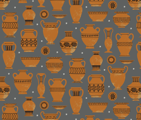 Amphorae and More-a - Greek Vases fabric by lellobird on Spoonflower - custom fabric