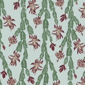 Christmas cactus - burgundy and grey-green on pale blue-grey