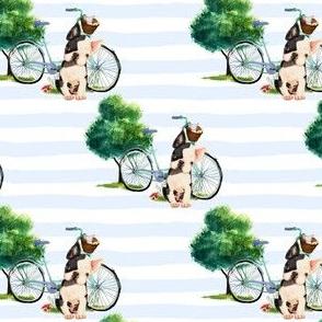 "4"" DOG WITH BIKE / THICK BLUE STRIPES"