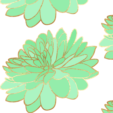 Mint and Gold Flower fabric by sew_delightful on Spoonflower - custom fabric