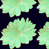 Navy and Mint large Floral Wallpaper Pattern