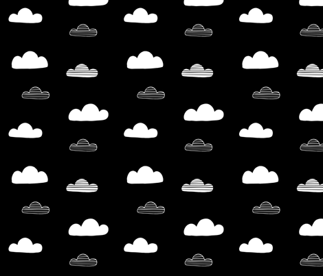 Clouds Black fabric by sarakristinedesigns on Spoonflower - custom fabric