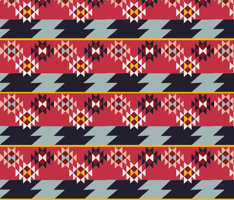 Kilim Stripes-Red fabric by lorloves_design on Spoonflower - custom fabric