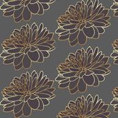 Grey Aubergine Floral Print