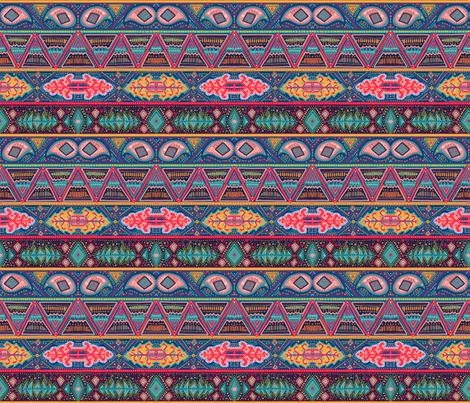 kilim inspired ribbon stripe fabric by beesocks on Spoonflower - custom fabric