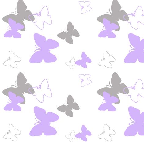 Butterfly purple gray grey lavender girl nursery fabric for Grey nursery fabric