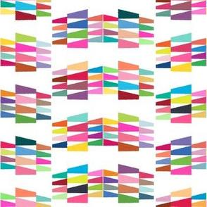 Tribal Triangle Kilim in Bright Rainbow Multi + White