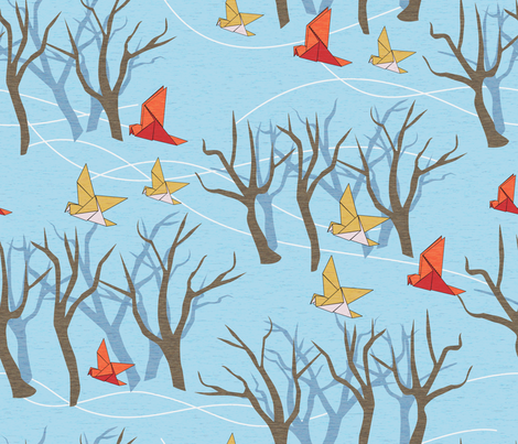 Origami Birds in Flight fabric by vinpauld on Spoonflower - custom fabric