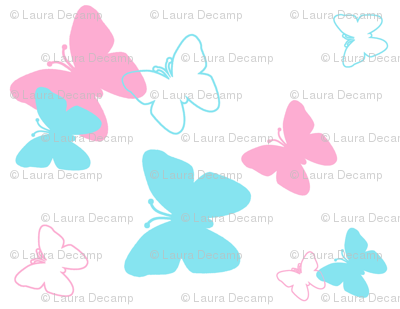 Butterfly Turquoise Aqua Blue Pink Girl Nursery