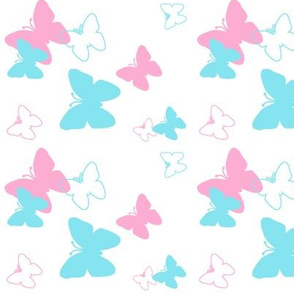 Butterfly Turquoise Aqua Blue Pink Girl Nursery