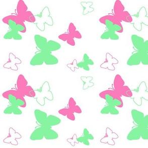 Butterfly Hot Pink Mint Green