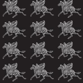 Zebra Fly black and white on black