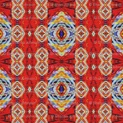 Kilim inspired red and blue star pattern
