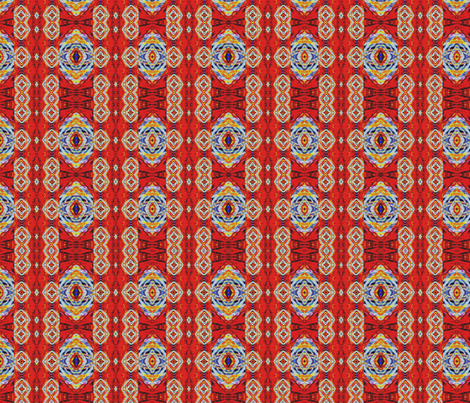 Kilim inspired red and blue star pattern fabric by shanieshea on Spoonflower - custom fabric