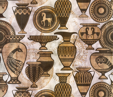 greek pottery fabric by cjldesigns on Spoonflower - custom fabric