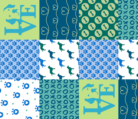 Wholecloth Patchwork Labrador Blue Dogs fabric by mariafaithgarcia on Spoonflower - custom fabric