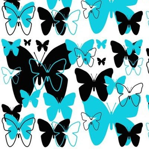 Butterfly Turquoise Blue Black