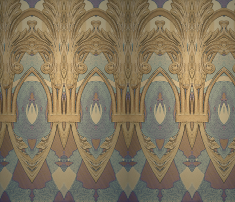 Iron work in blue and taupe fabric by shanieshea on Spoonflower - custom fabric