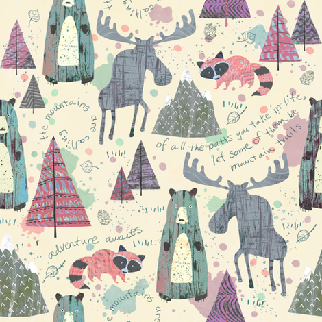 Sherbet Forest - Mountain Animals fabric by sarah_treu on Spoonflower - custom fabric