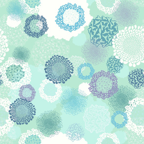 Doily Flowers on Teal