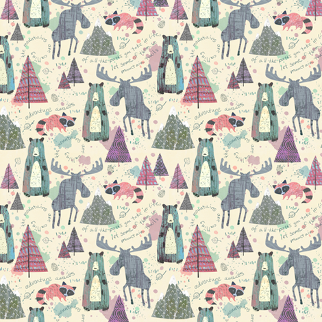 Sherbet Forest (Mini Size) -Mountain Animals fabric by sarah_treu on Spoonflower - custom fabric