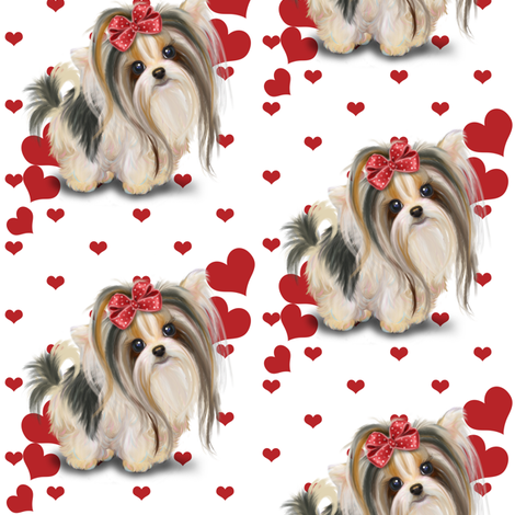 Biewer/Parti/Yorkie white and hearts M  fabric by catialee on Spoonflower - custom fabric
