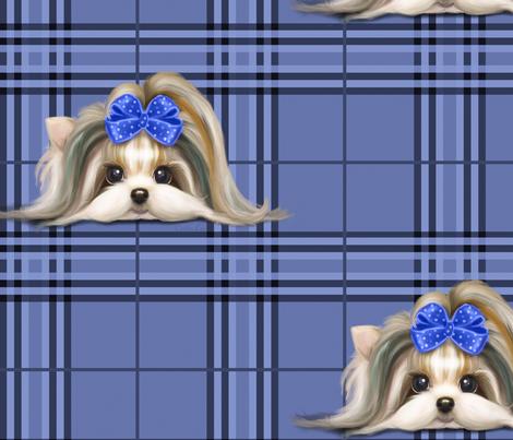 Parti-Biewer-Yorkie Plaid blue tone XL fabric by catialee on Spoonflower - custom fabric