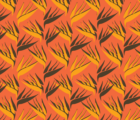 birds of paradise orange flower tropical plant fabric by jokalute on Spoonflower - custom fabric