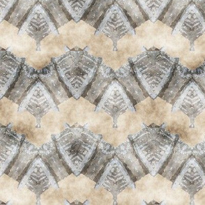 ETHNIC SHIELD CHEVRON 1 WATERCOLOR WOOD STONE BEIGE GREY