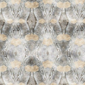 ETHNIC SHIELD DIAMONDS  2  WATERCOLOR WOOD STONE BEIGE GREY LACE