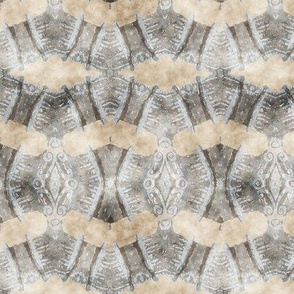 ETHNIC SHIELD DIAMONDS ARROWS  WATERCOLOR WOOD STONE BEIGE GREY