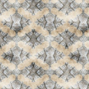ETHNIC SHIELD LOZENGE WATERCOLOR WOOD STONE BEIGE GREY gray