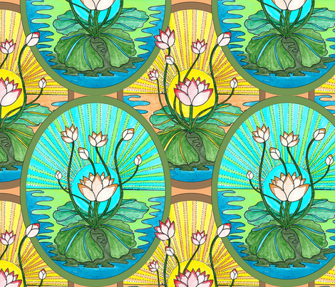art deco lotus oval fabric by leroyj on Spoonflower - custom fabric