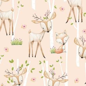 Sweet Woodland Animals (blush) Deer Fox Raccoon Birch Trees Flowers Baby Girl Nursery Blanket Sheets Bedding A