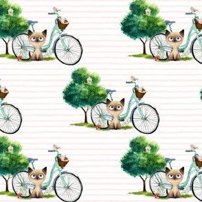 """4"""" KITTY CAT WITH BIKE / PINK STRIPES"""