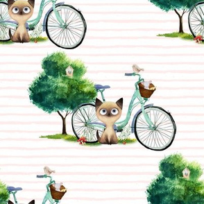 """8"""" KITTY CAT WITH BIKE / PINK STRIPES"""
