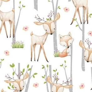 Sweet Woodland Animals - Deer Fox Raccoon Birch Trees Flowers Baby Girl Nursery Blanket Sheets Bedding A