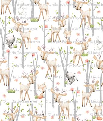 Sweet Woodland Animals - Deer Fox Raccoon Birch Trees Flowers Baby Girl Nursery Blanket Sheets Bedding B