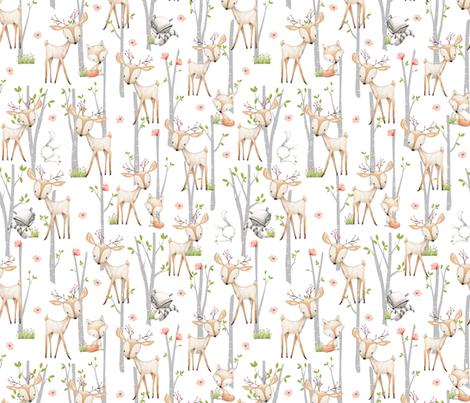 Sweet Woodland Animals - Deer Fox Raccoon Birch Trees Flowers Baby Girl Nursery Blanket Sheets Bedding B fabric by gingerlous on Spoonflower - custom fabric