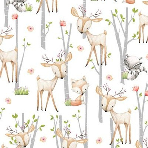 Sweet Woodland Animals - Deer Fox Raccoon Birch Trees Flowers Baby Girl Nursery Blanket Sheets Bedding B