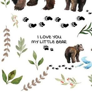 Mama and Baby Bear Watercolor Greenery